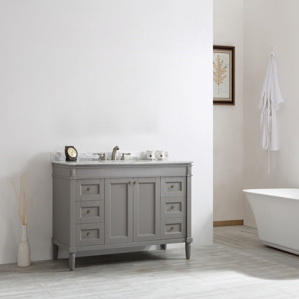 catania grey with carrara white marble top 48 inch single