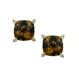One-of-a-kind Michael Valitutti Cushion Check Top Whiskey Quartz Stud Earrings