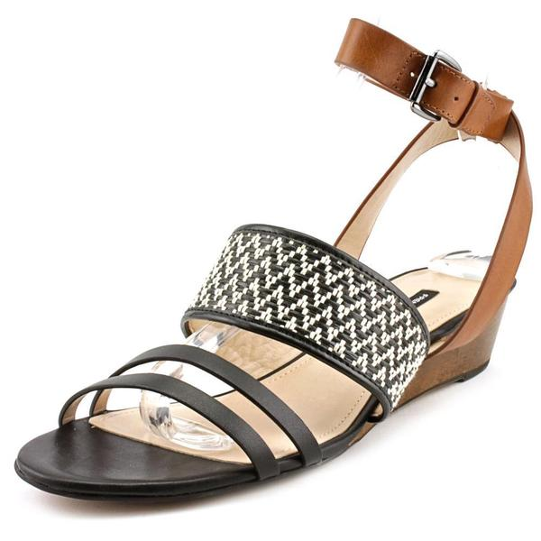 French Connection Women's Wiley Leather Ankle-strap Wedge Sandals
