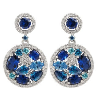 Luxiro Sterling Silver Lab-created Sapphire Dangle Earrings