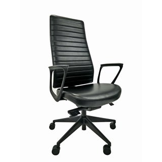 Frasso Black Leather High-back Office Chair
