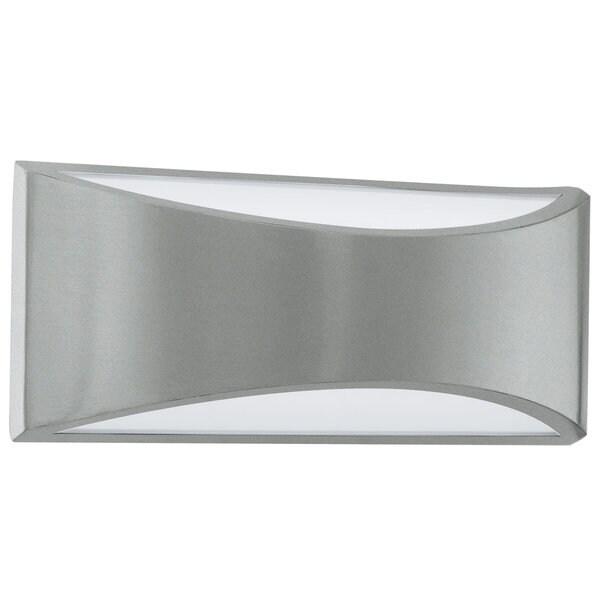 Eglo Voplino Silver Finish White Glass Outdoor LED Wall Light