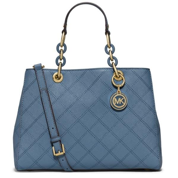 Michael Kors Cynthia Medium Quilted Leather Cornflower Satchel Handbag