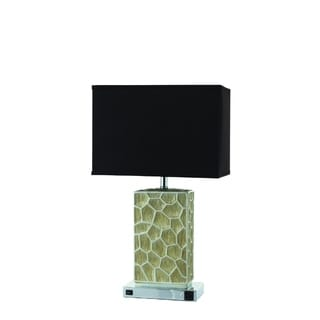 Nova Black and Beige Rectangular Metal Table Lamp (Set of 2)