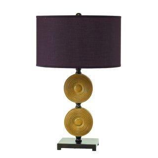 Nova Geometric Plum and Gold Metal Table Lamp (Set of 2)