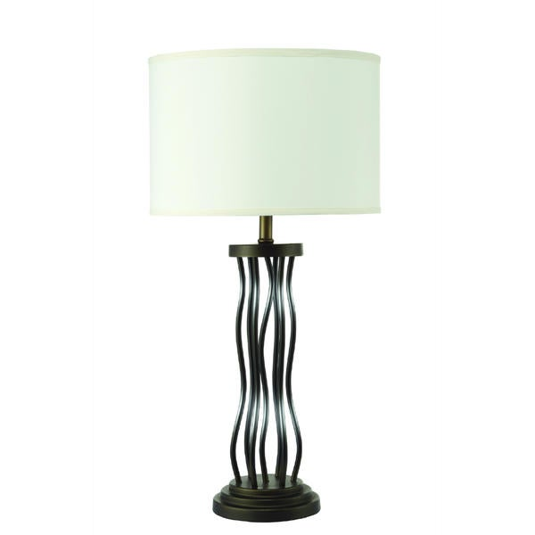 Black Metal Base with White Shade Table Lamp (2 Lamps Per Box)