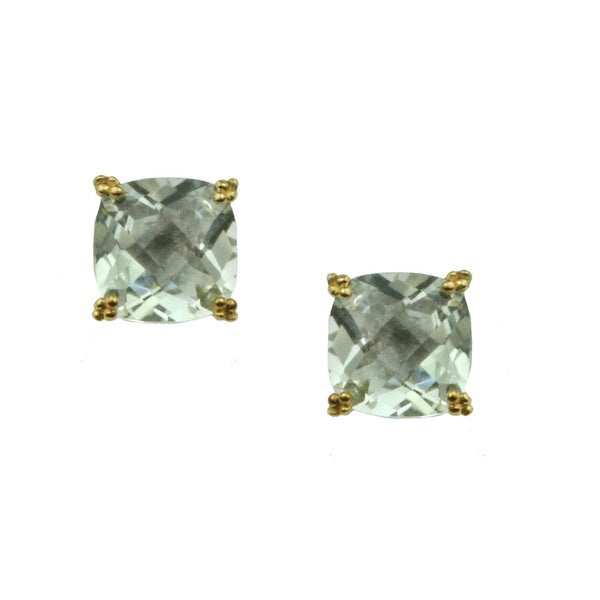 Michael Valitutti Cushion Check Top Praisiolite (Green Amethyst) Stud Earrings