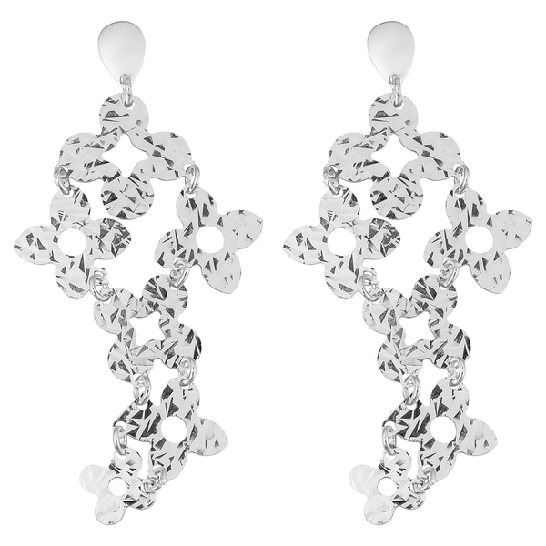 Argento Italia Sterling Silver Hammered Flowers Bold Drop Earrings