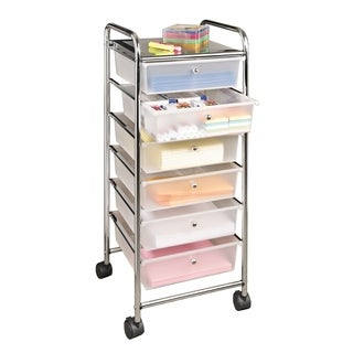 Seville Classics Frosted White 38.5-inch 6-Drawer Rolling Organizer Cart