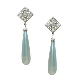 Michael Valitutti Cubic Zirconia and Blue Pearl Drop Earrings