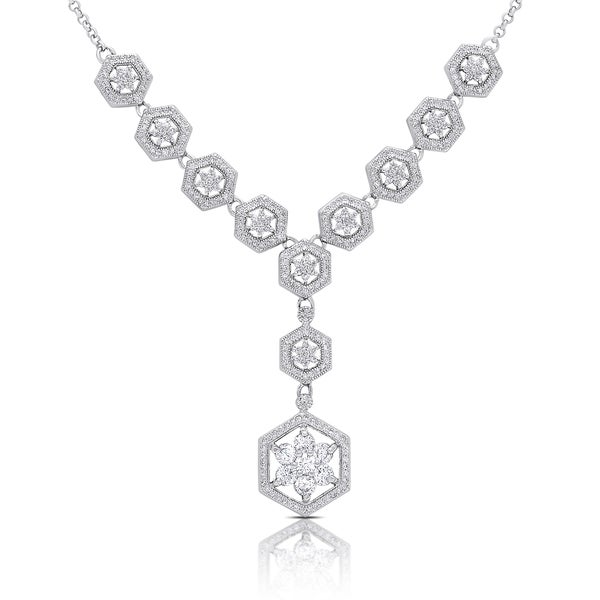 Samantha Stone Sterling Silver Cubic Zirconia Flower Statement Necklace