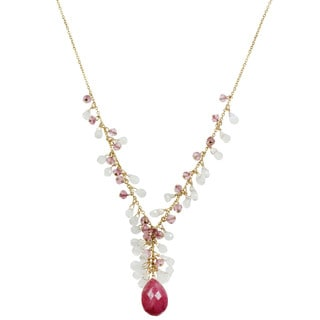 One-of-a-kind Michael Valitutti Ruby, Pink Topaz, and Moonstone Briolette Necklace