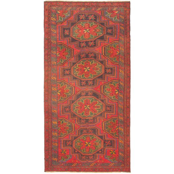 Ecarpetgallery Nomad Sumak Red/Green/Navy/Khaki Wool Hand-woven Rug (5'5 x 10'8)