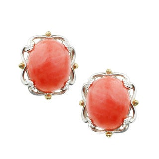 Michael Valitutti Cabochon Salmon Bamboo Coral Stud Earrings
