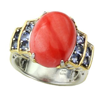 One-of-a-kind Michael Valitutti Cabochon Salmon Bamboo Coral with Tanzanite Ring