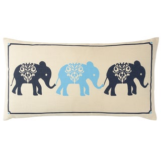 Three Elephants Blue, Off-white, Orange, Pink Cotton Wool Decorative Pillow