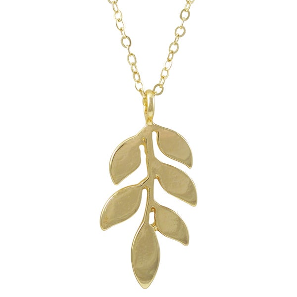Luxiro Gold Finish Olive Leaf Pendant Necklace