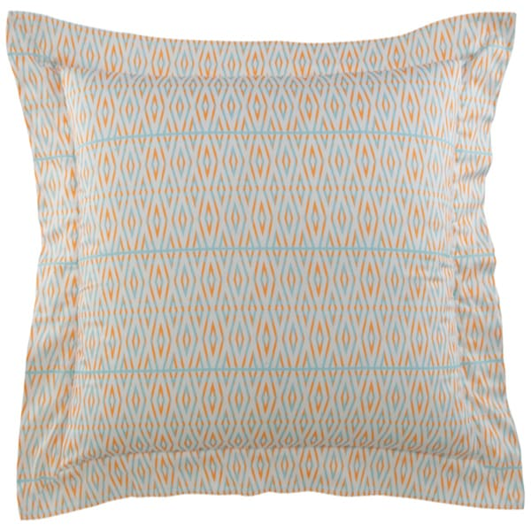 Ikat White/Blue/Orange Cotton Diamonds Sham