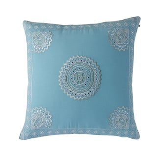 Stephanotis Purple Cotton Embroidered Decorative Pillow