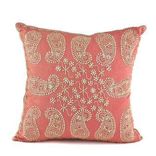 Anenome Embroidered Coral Cotton 16-inch Square Accent Pillow