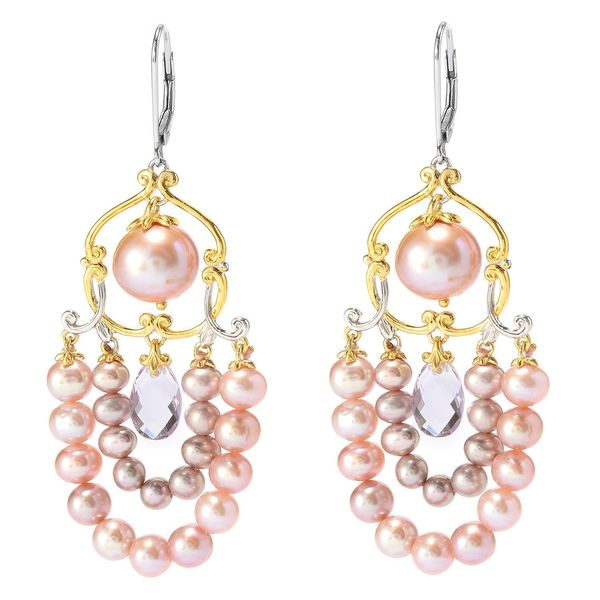 Michael Valitutti Pink Amethyst Drop and Multi Pink Pearl Earrings