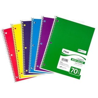 Mead 72873 Multicolor Paper 1-subject 70-count Wide Ruled Spiral Notebook (Pack of 4)