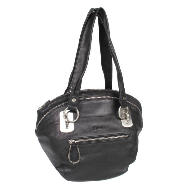 Joanel Favorites Black Leather Bucket Shoulder Handbag