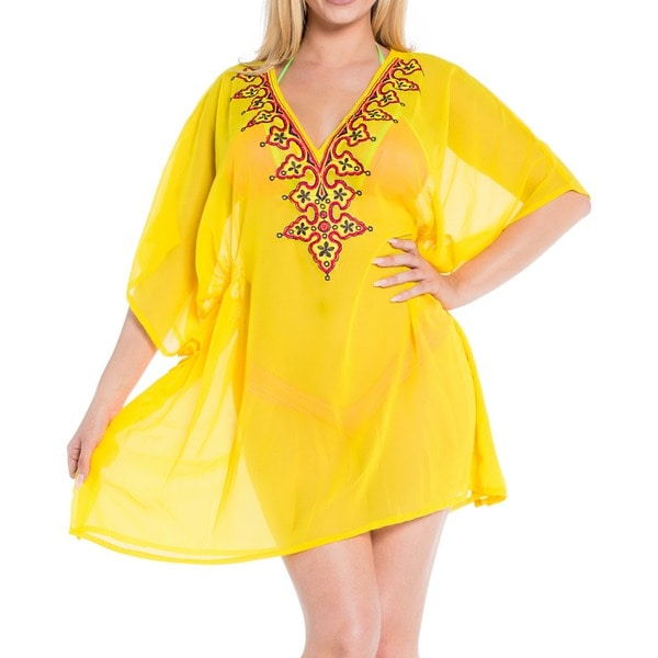 La Leela Women's Yellow Floral Chiffon V-neck Plus Size Embroidered Beach Cover-up