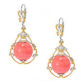 Michael Valitutti Salmon Bamboo Coral Bead with White Zircon Earrings