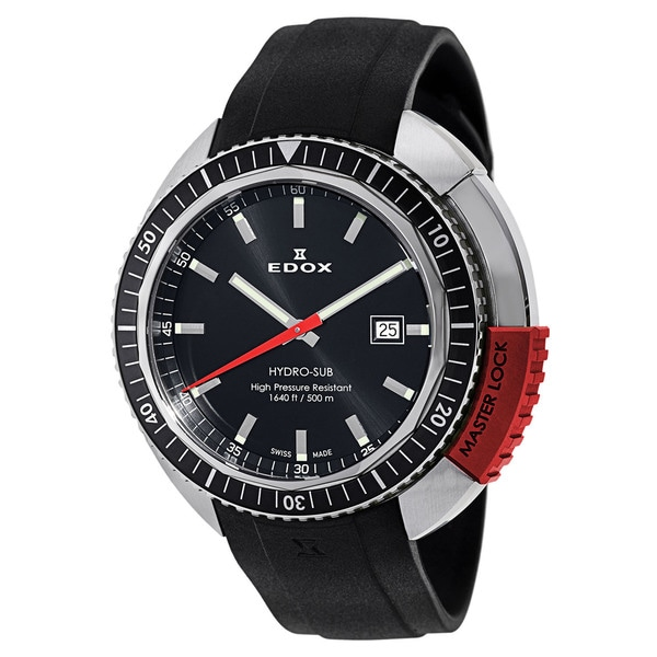 EDOX Hydro-Sub Black Rubber Swiss Quartz Water-resistant Watch