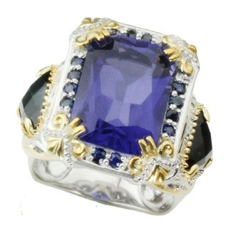 One-of-a-kind Michael Valitutti Tanzanite Quartz Doublet with Blue Sapphire and Black Onyx Ring