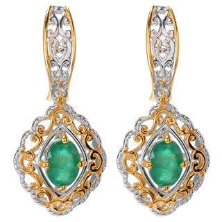 Michael Valitutti Oval Emerald Stud Earrings