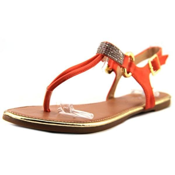 Qupid Women's Gem 01 Orange Synthetic Sandals