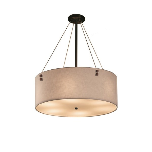 Justice Design Group Textile Finials 24 inch Drum Bronze Pendant with Square Finials, White Shade