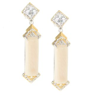 Michael Valitutti Cabochon White Bamboo Coral with Princess Cut White Topaz Stud Earrings