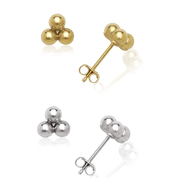 14k Gold Triple Ball Cluster Stud Earrings