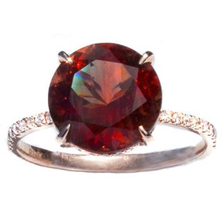 Oregon Copper-Bearing Sunstone & Diamond Gold Ring