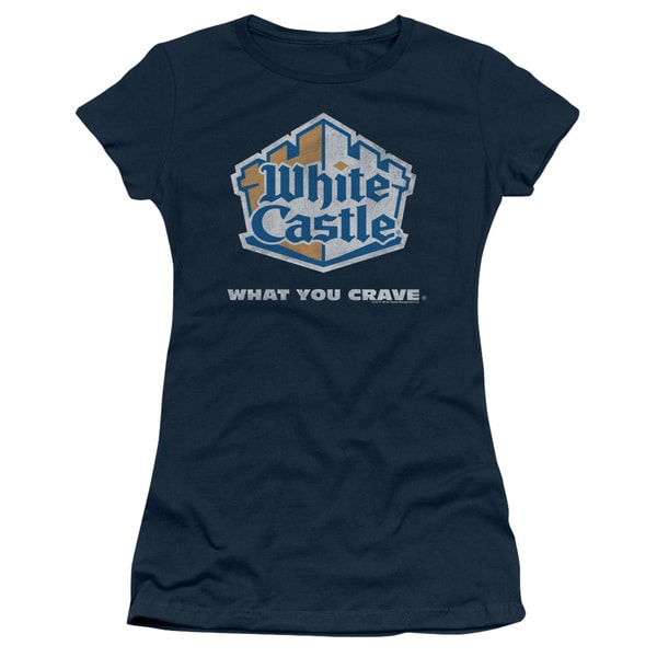 White Castle/Distressed Logo Junior Sheer in Navy