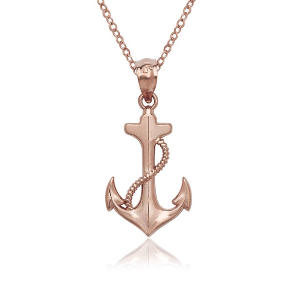 14k Rose Gold Anchor Pendant Necklace