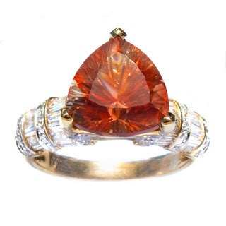 Orange Oregon Copper-Bearing Schiller Sunstone and Diamond Ring