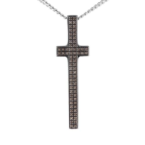 Pianegonda Silver and Quartz Cross Pendant Necklace