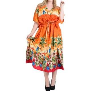 La Leela Women's Orange Likre Kimono Drawstring Beachwear Kaftan