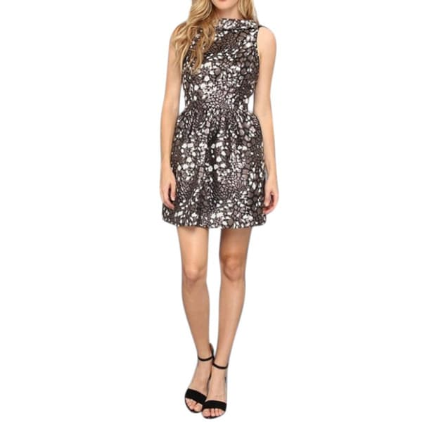 Mark + James and Badgley Mischka Gold Jacquard Halter Dress