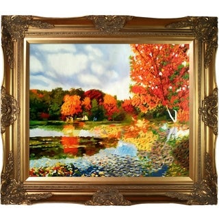 Celito Medeiros 'Autumn Landscape' Hand Painted Framed Canvas Art