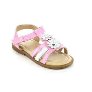 JELLY BEANS DB97 Girl's Double Flowers Deco Hook-and-loop Gladiator Flat Sandals