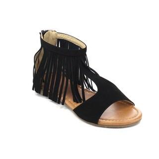 Beston DB63 Girls' Faux-suede Fringed Gladiator Sandals