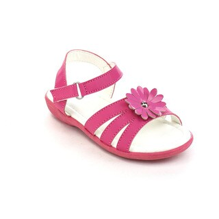 Beston Girl's Fuchsia Faux-leather Flower Gladiator Sandals
