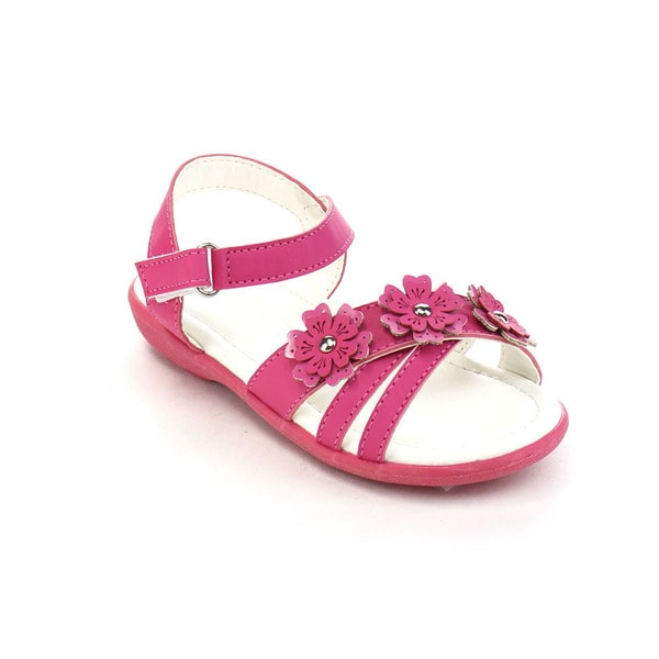 Jelly Beans Girls' Faux Leather Floral Gladiator Flat Sandals