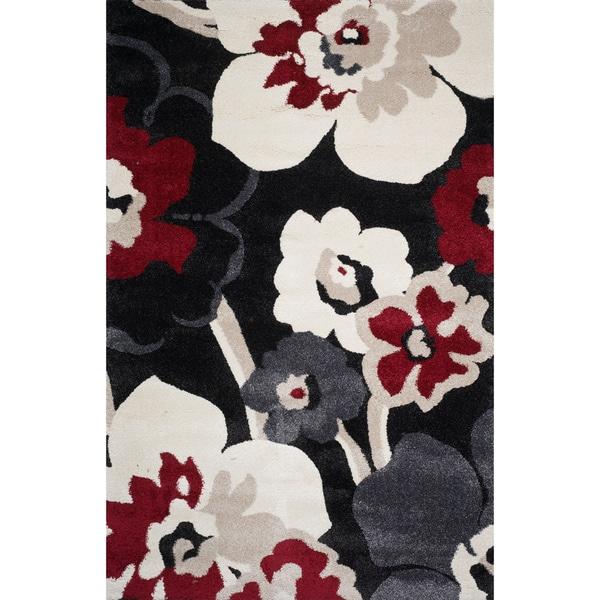 Christopher Knight Home Verna Miranda Black Floral Frieze Rug (5' x 8')