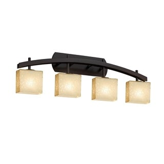 Justice Design Group Fusion Archway 4-Light Bronze Bath Bar, Droplet Shade